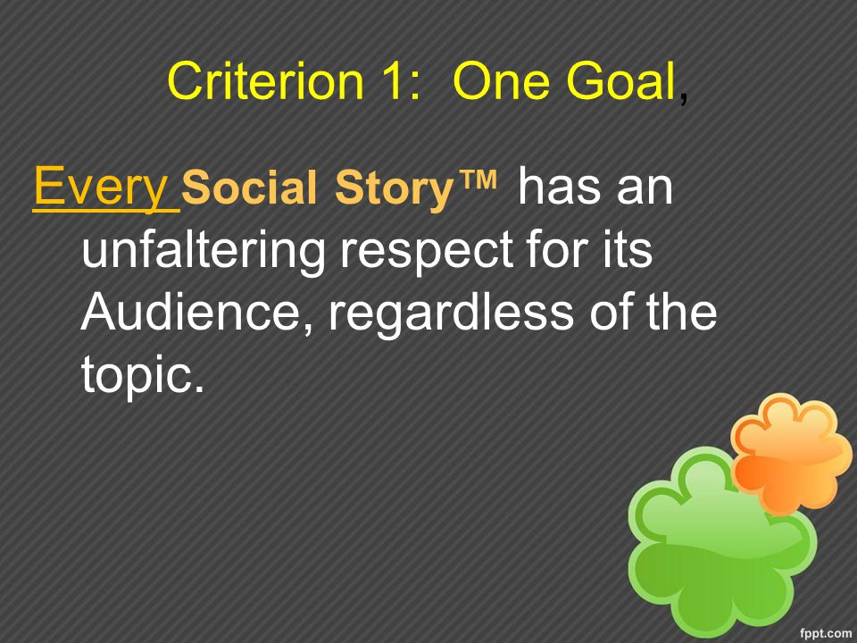 Criterion 1: One Goal, Every Social Story™ has an unfaltering respect for its Audience, regardless of the topic.