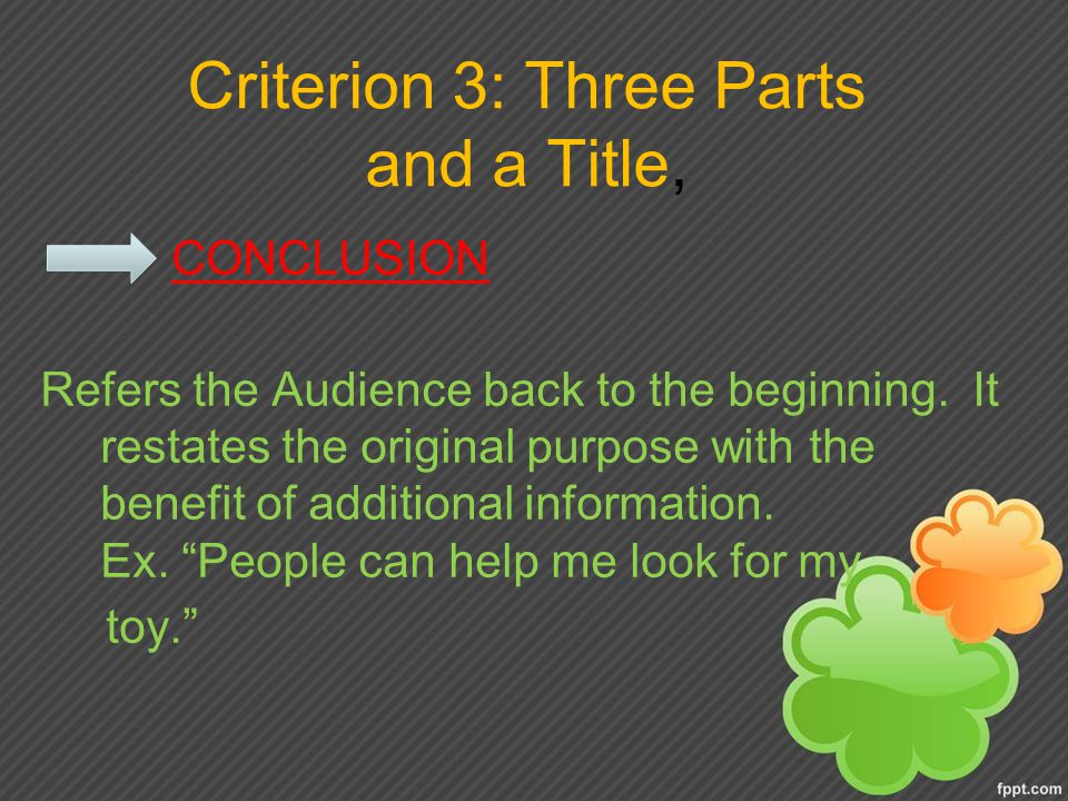 Criterion 3: Three Parts and a Title,