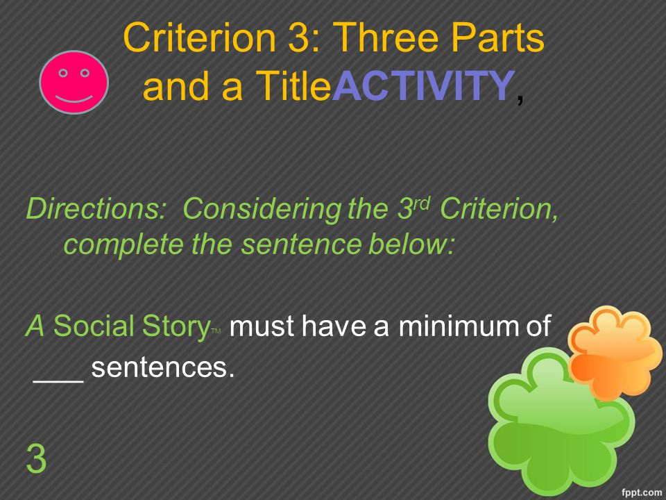 Criterion 3: Three Parts and a TitleACTIVITY,