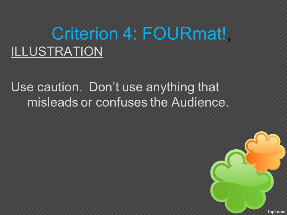 Criterion 4: FOURmat!, ILLUSTRATION