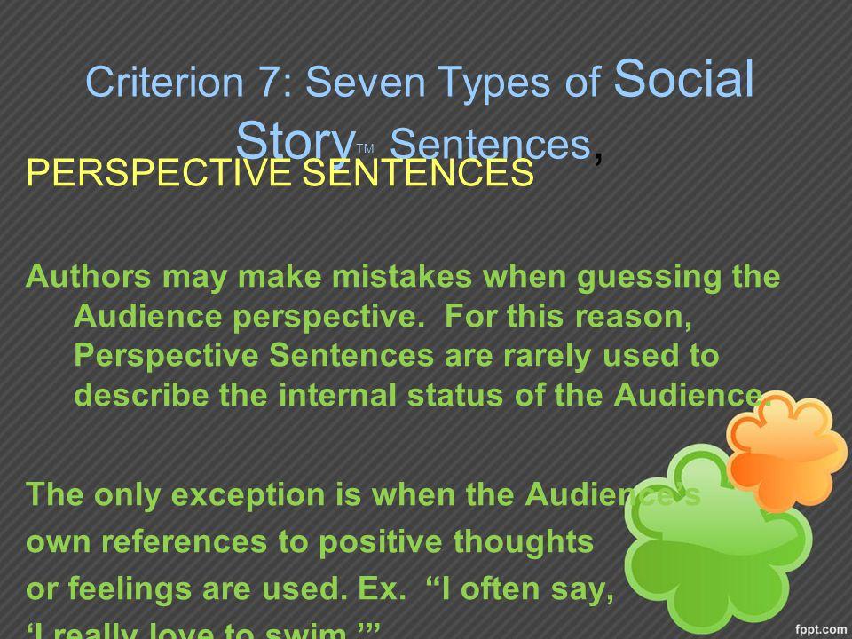 Criterion 7: Seven Types of Social StoryTM Sentences,