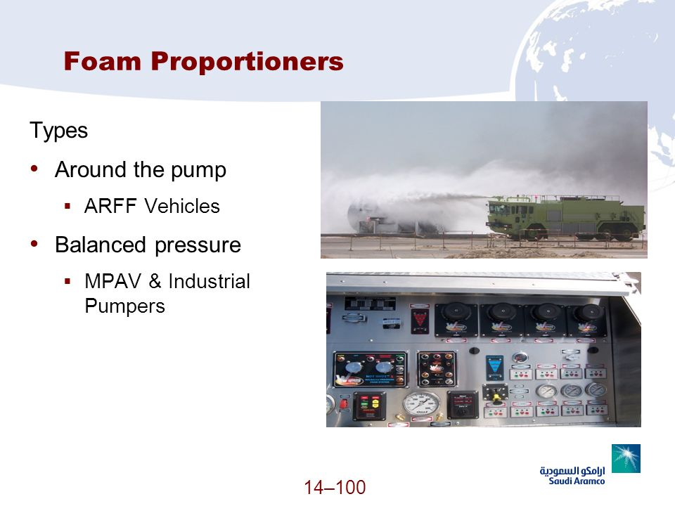 Foam Proportioners Types Around the pump Balanced pressure