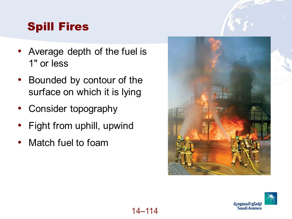Spill Fires Average depth of the fuel is 1 or less