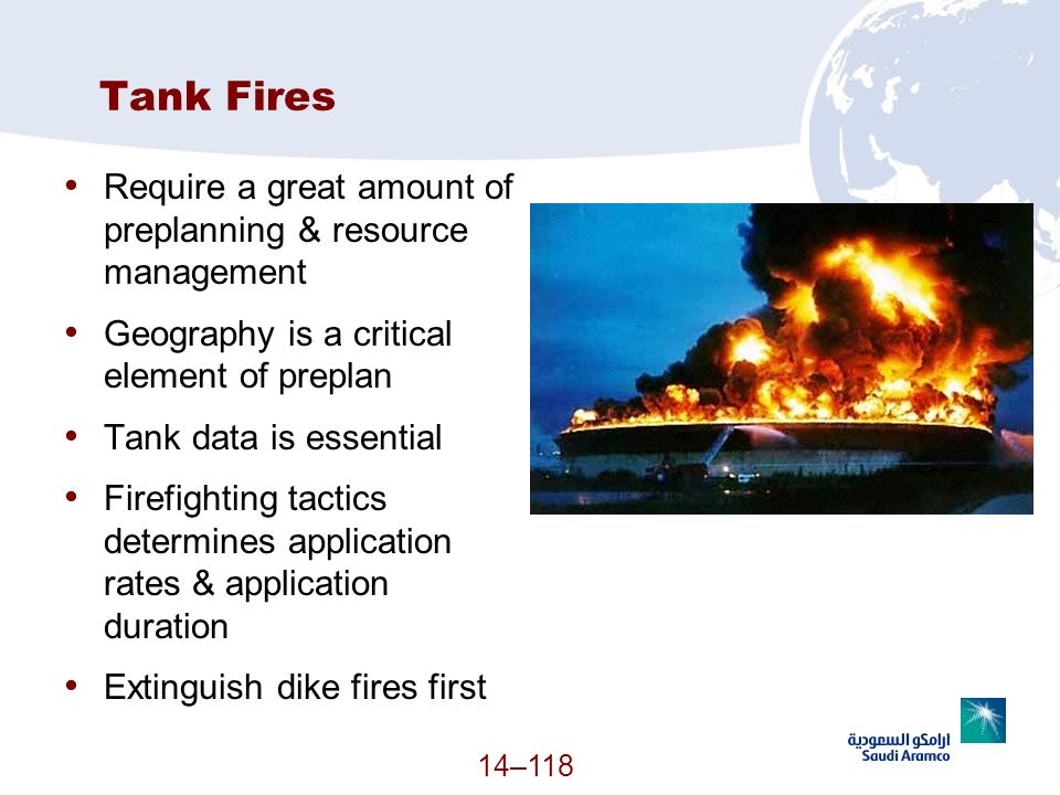 Tank Fires Require a great amount of preplanning & resource management