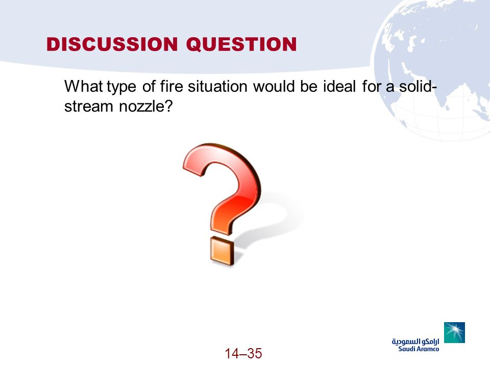DISCUSSION QUESTION What type of fire situation would be ideal for a solid-stream nozzle