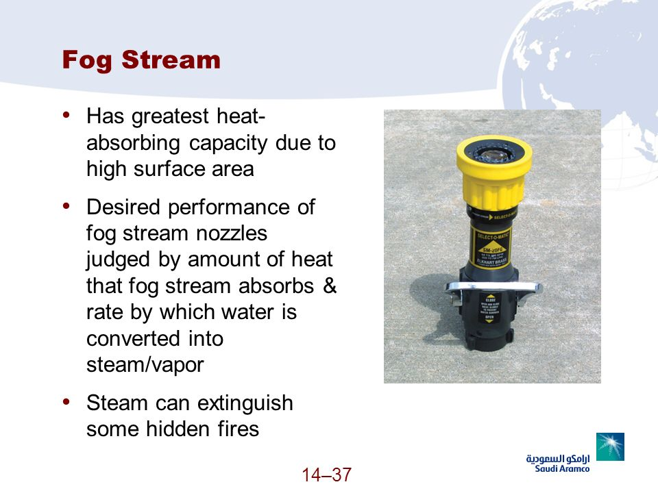 Fog Stream Has greatest heat-absorbing capacity due to high surface area.