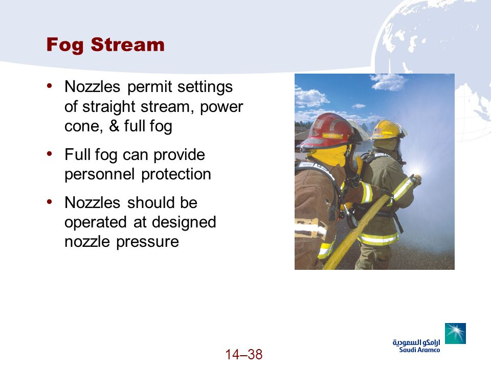 Fog Stream Nozzles permit settings of straight stream, power cone, & full fog. Full fog can provide personnel protection.