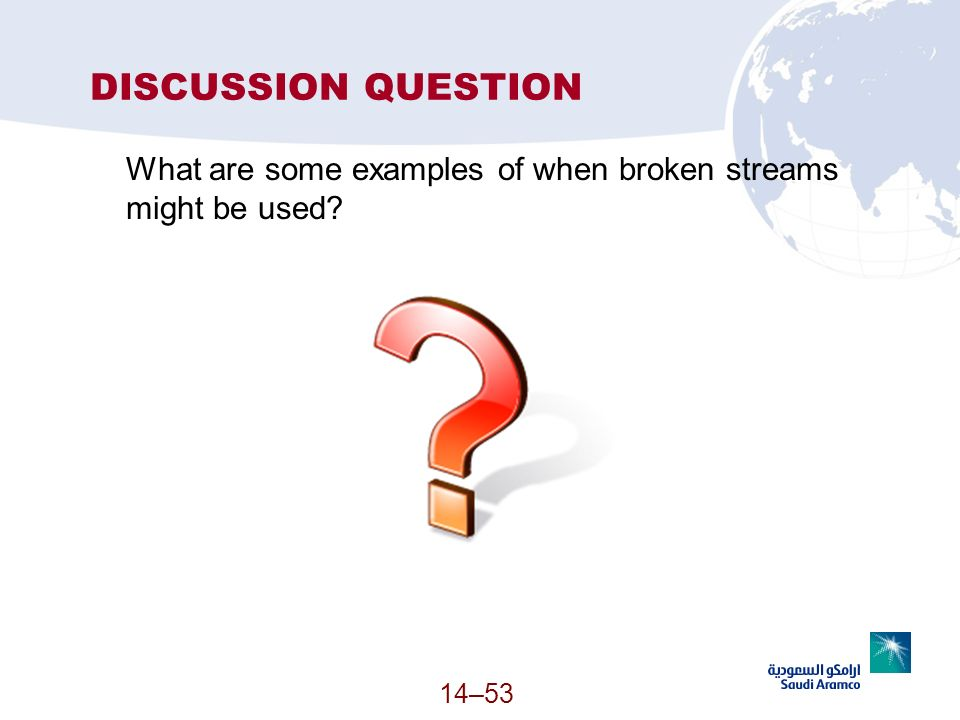 DISCUSSION QUESTION What are some examples of when broken streams might be used