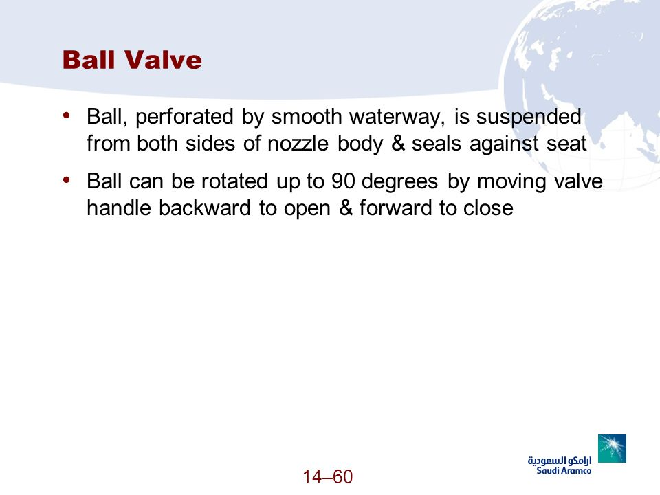 Ball Valve Ball, perforated by smooth waterway, is suspended from both sides of nozzle body & seals against seat.