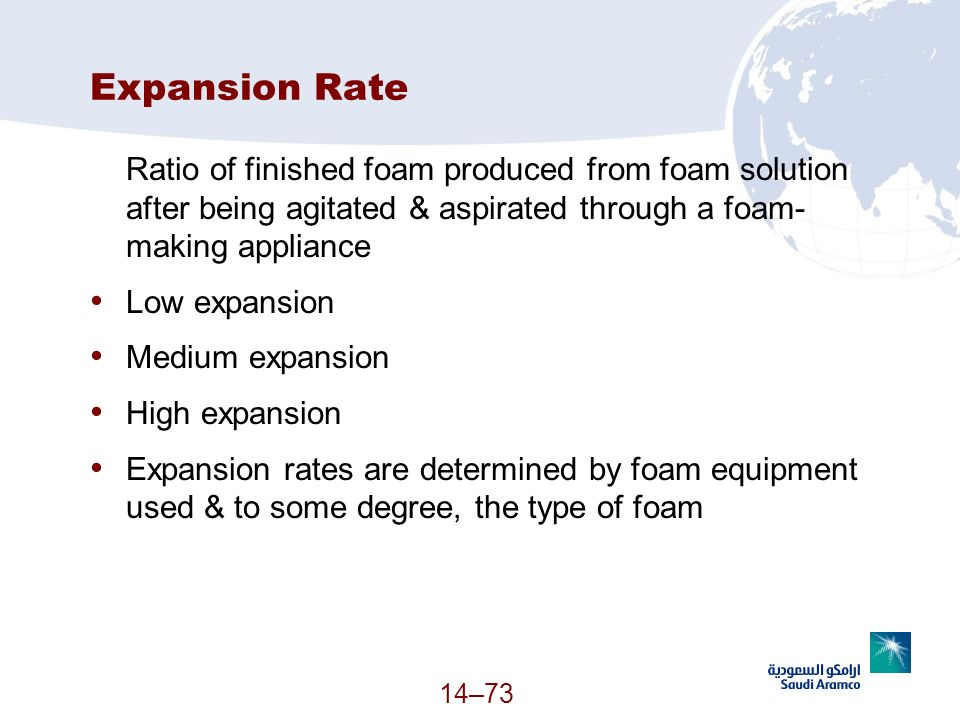 3/25/2017 Expansion Rate. Ratio of finished foam produced from foam solution after being agitated & aspirated through a foam-making appliance.
