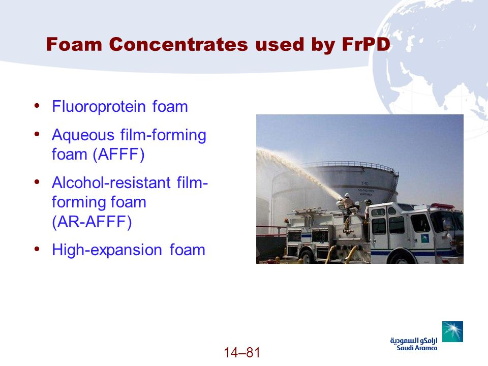 Foam Concentrates used by FrPD