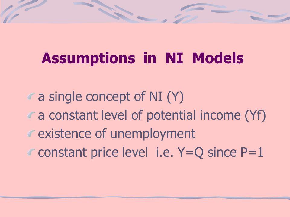 Assumptions in NI Models