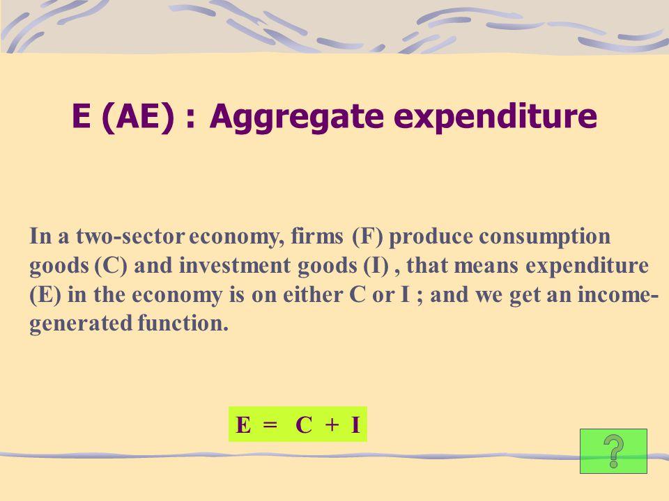 E (AE) : Aggregate expenditure