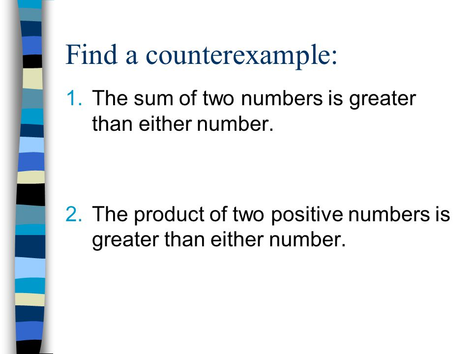 Find a counterexample: