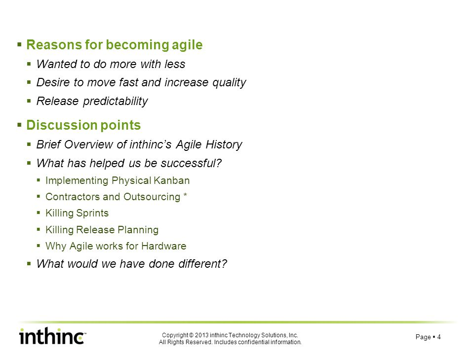 Reasons for becoming agile