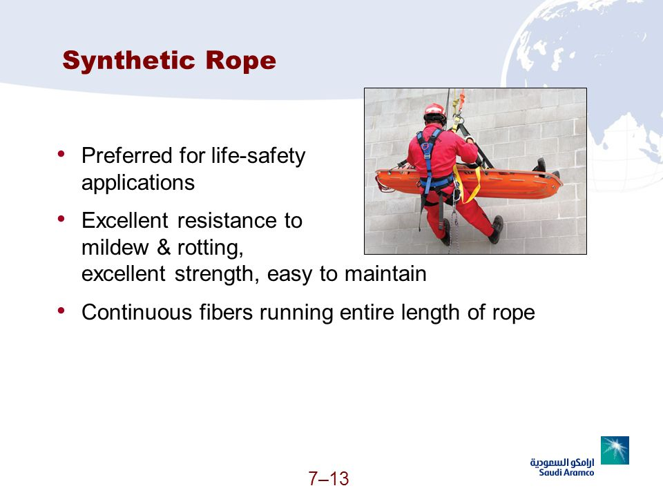 Synthetic Rope Preferred for life-safety applications