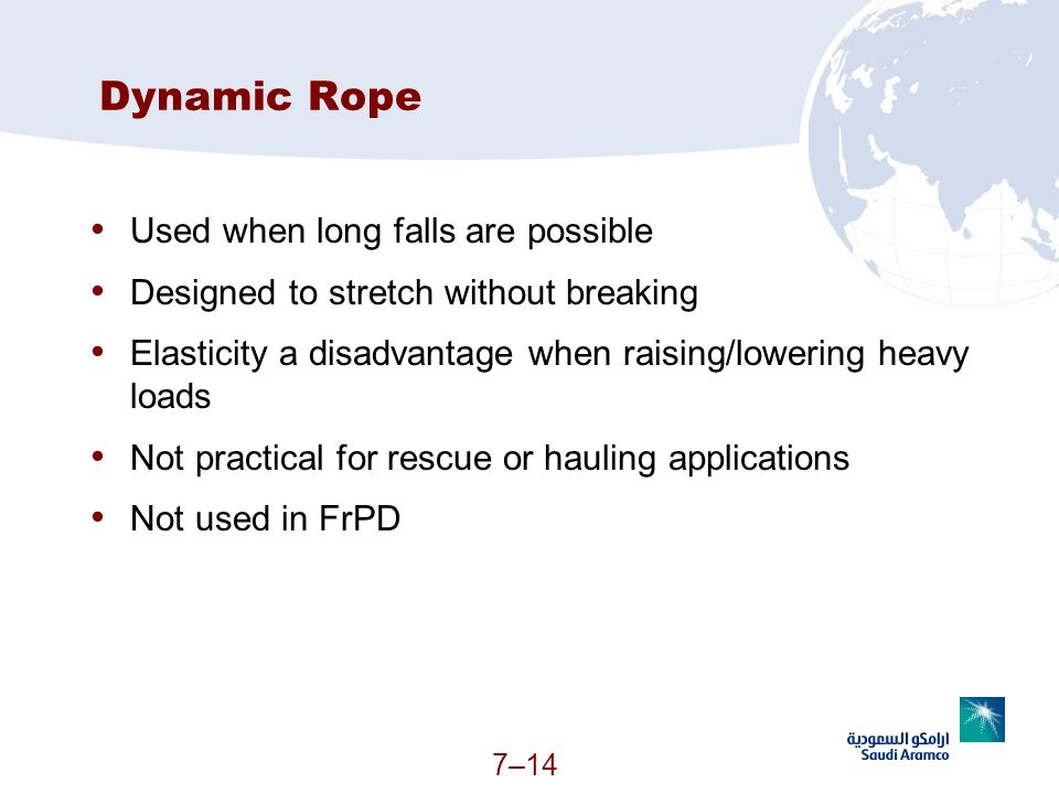 Dynamic Rope Used when long falls are possible