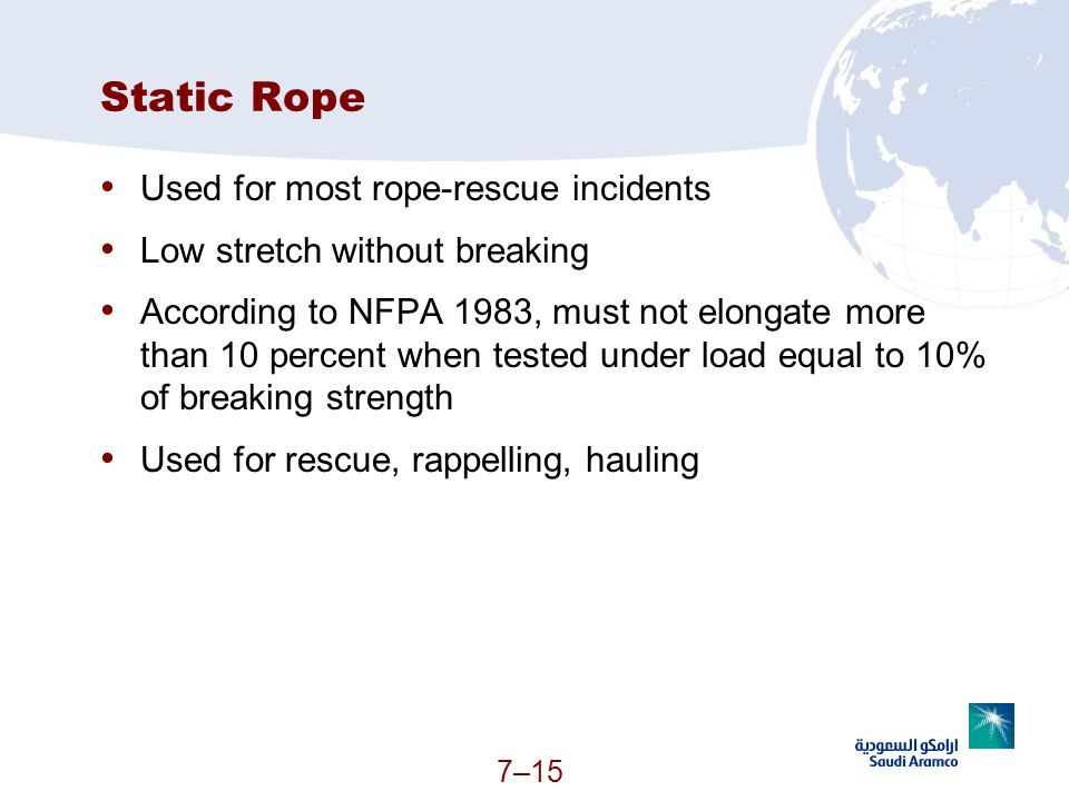 Static Rope Used for most rope-rescue incidents