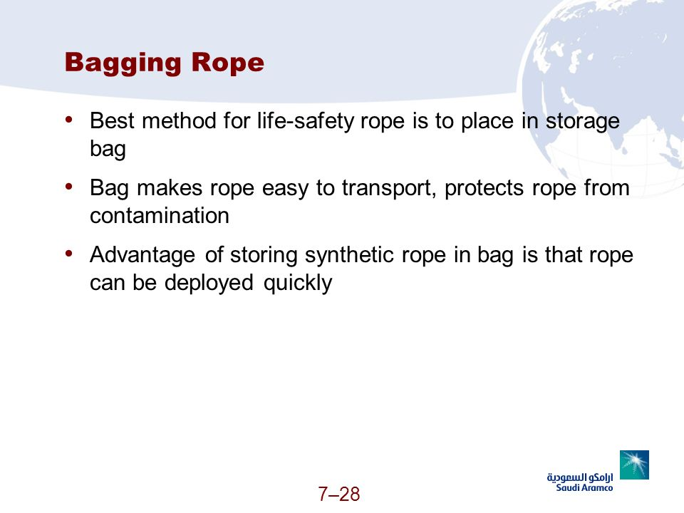 Bagging Rope Best method for life-safety rope is to place in storage bag. Bag makes rope easy to transport, protects rope from contamination.