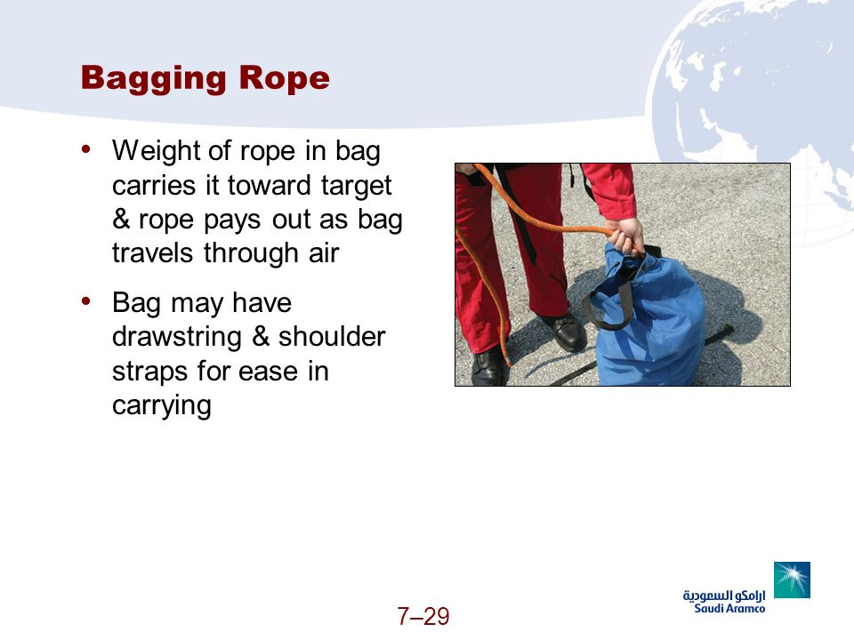 Bagging Rope Weight of rope in bag carries it toward target & rope pays out as bag travels through air.