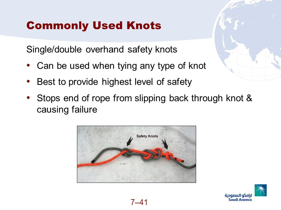 Commonly Used Knots Single/double overhand safety knots