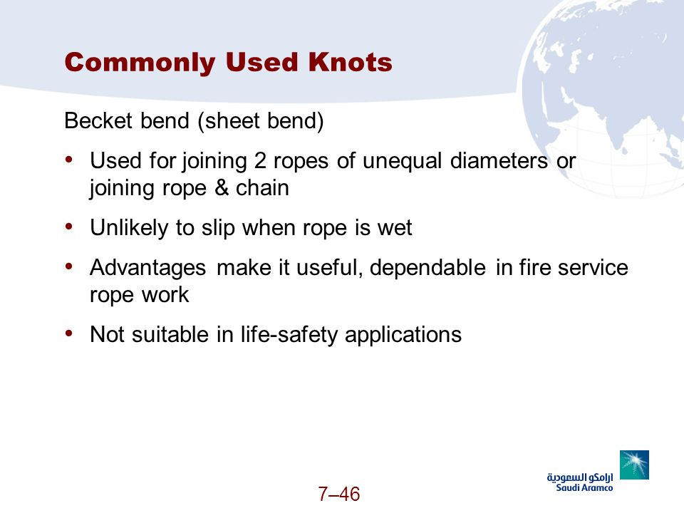 Commonly Used Knots Becket bend (sheet bend)