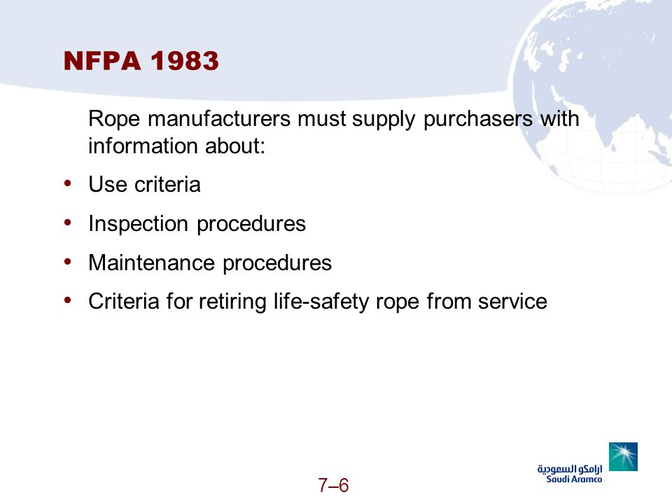 NFPA 1983 Rope manufacturers must supply purchasers with information about: Use criteria. Inspection procedures.