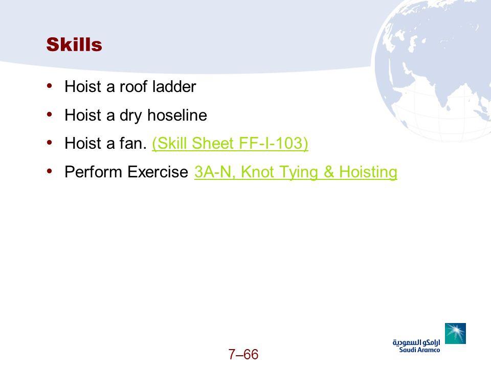 Skills Hoist a roof ladder Hoist a dry hoseline
