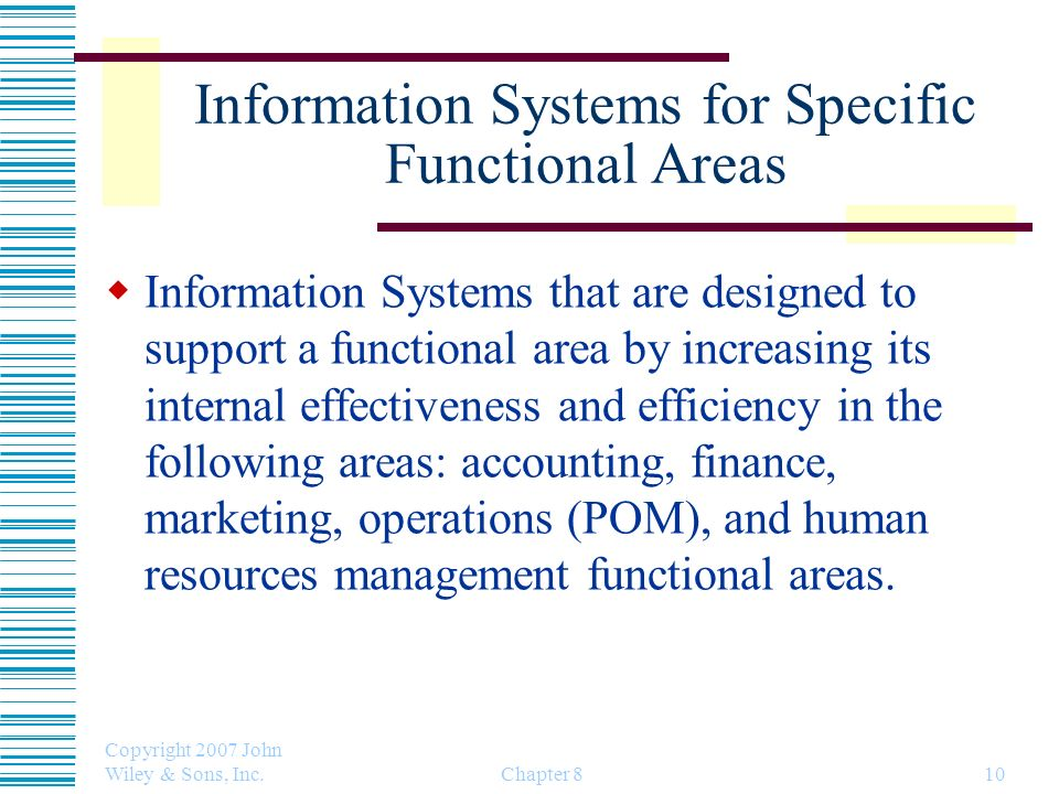 Information Systems for Specific Functional Areas