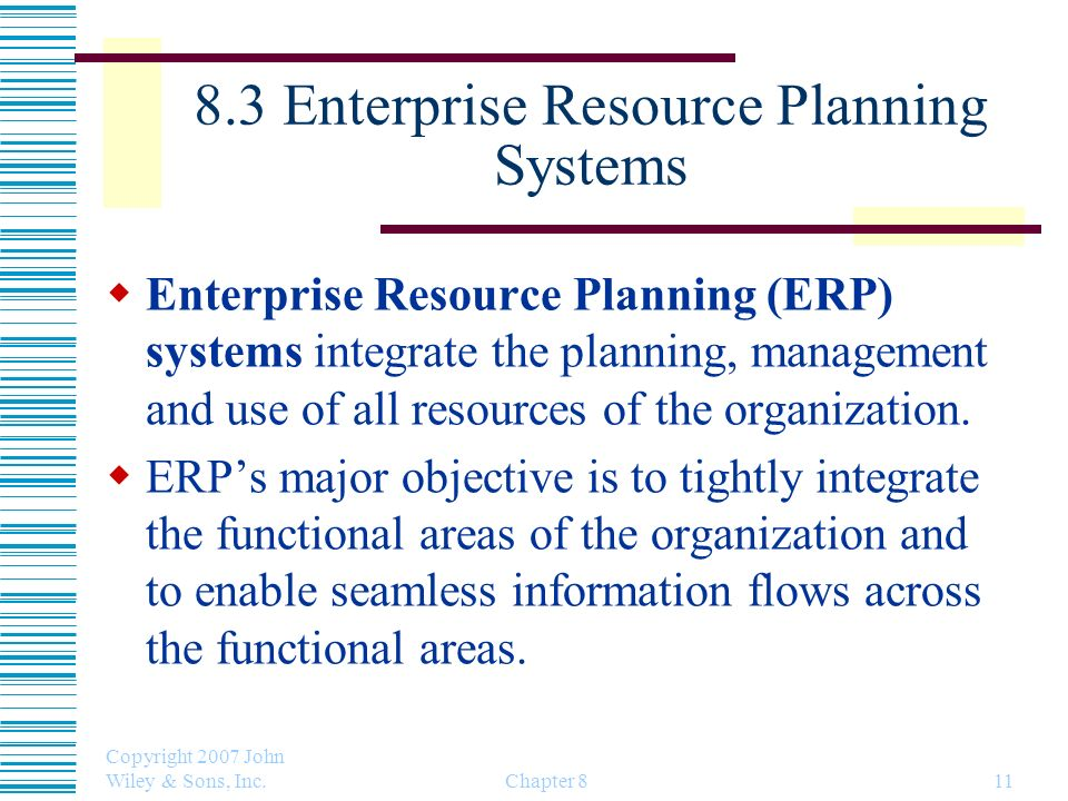 8.3 Enterprise Resource Planning Systems