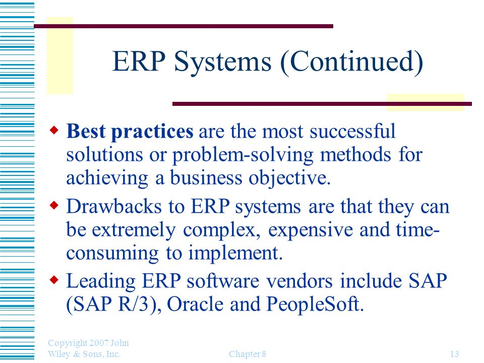 ERP Systems (Continued)
