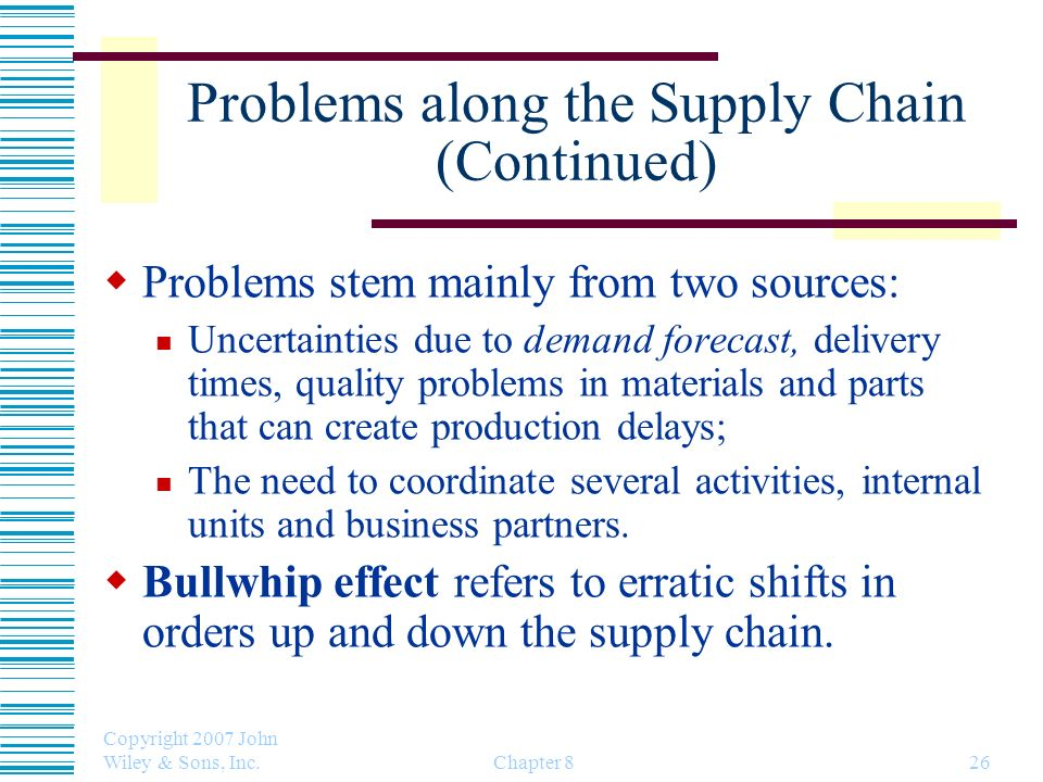Problems along the Supply Chain (Continued)