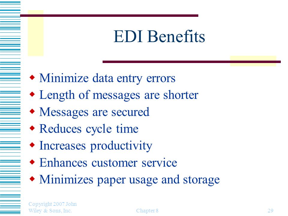 EDI Benefits Minimize data entry errors Length of messages are shorter