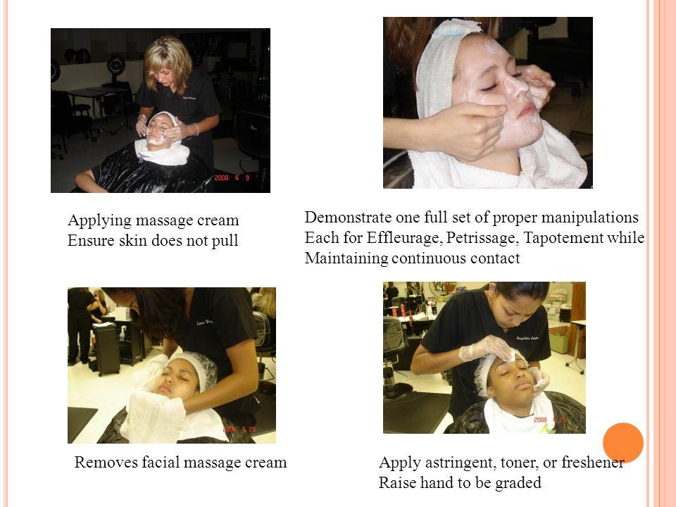 Applying massage cream