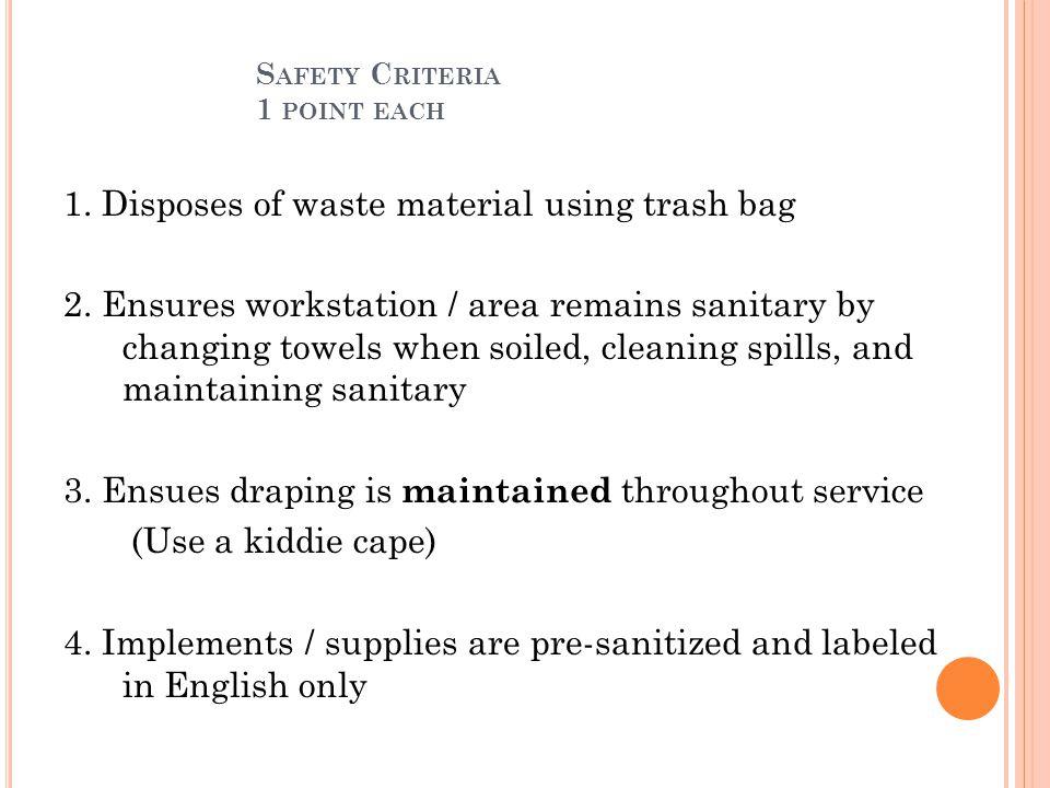 Safety Criteria 1 point each