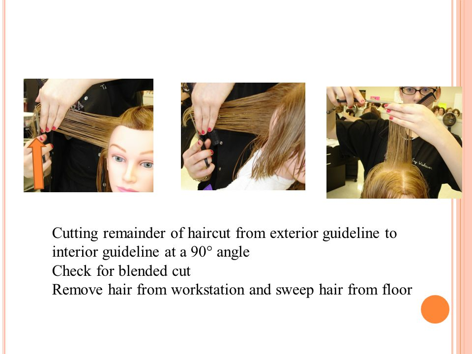 Cutting remainder of haircut from exterior guideline to interior guideline at a 90° angle