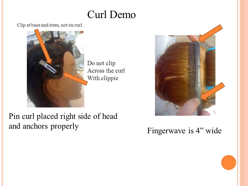 Curl Demo Pin curl placed right side of head and anchors properly