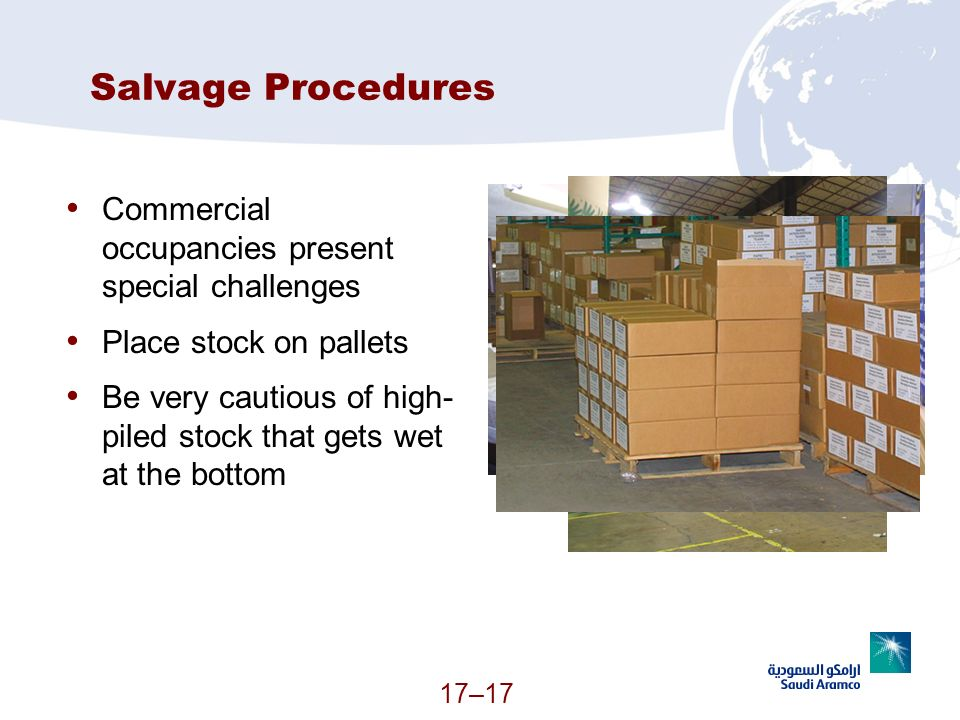 Salvage Procedures Commercial occupancies present special challenges