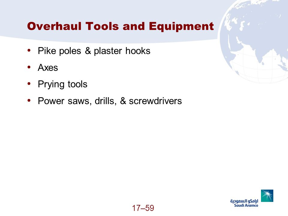 Overhaul Tools and Equipment
