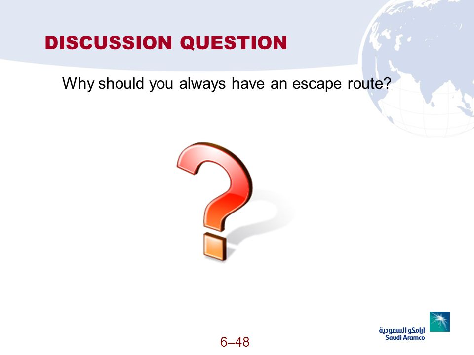 DISCUSSION QUESTION Why should you always have an escape route