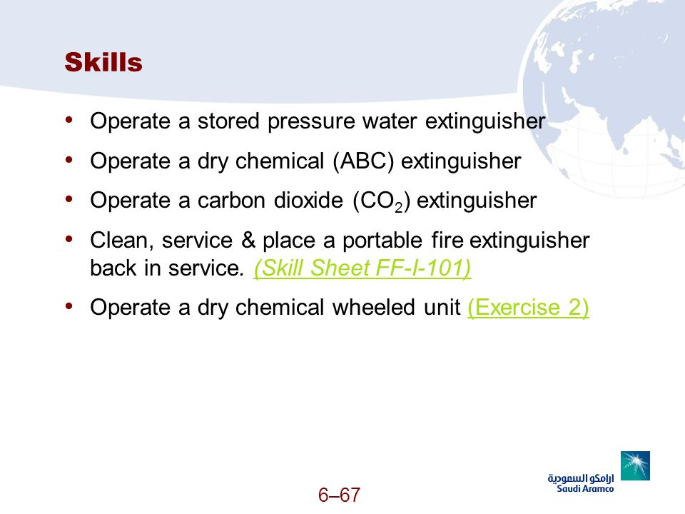 Skills Operate a stored pressure water extinguisher