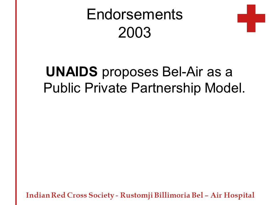 UNAIDS proposes Bel-Air as a Public Private Partnership Model.