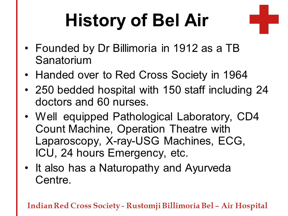 History of Bel Air Founded by Dr Billimoria in 1912 as a TB Sanatorium