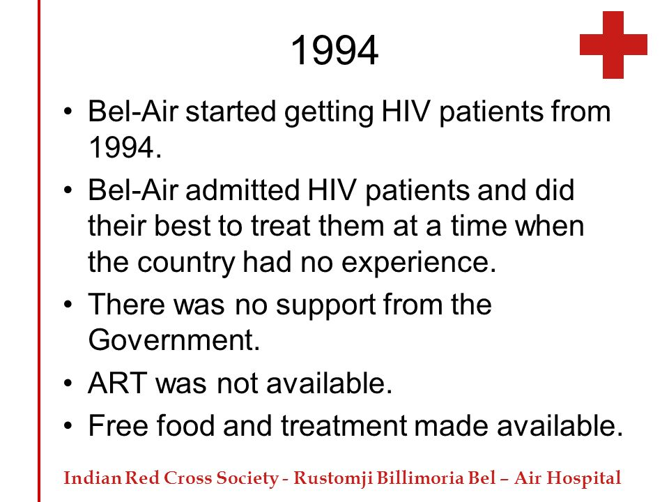 1994 Bel-Air started getting HIV patients from 1994.