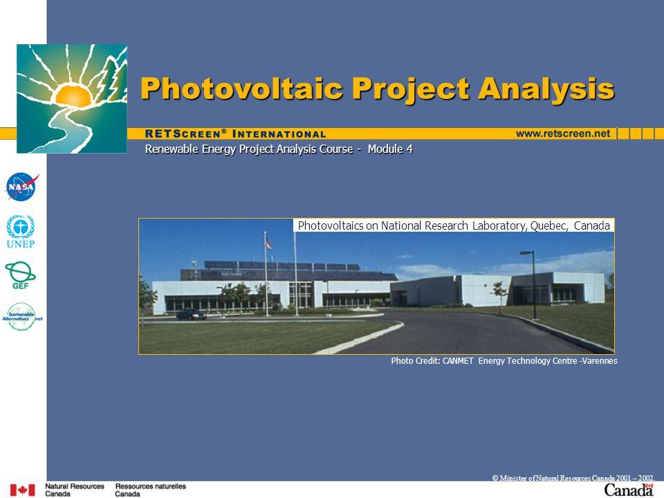 Renewable Energy Project Analysis Course - Module 4