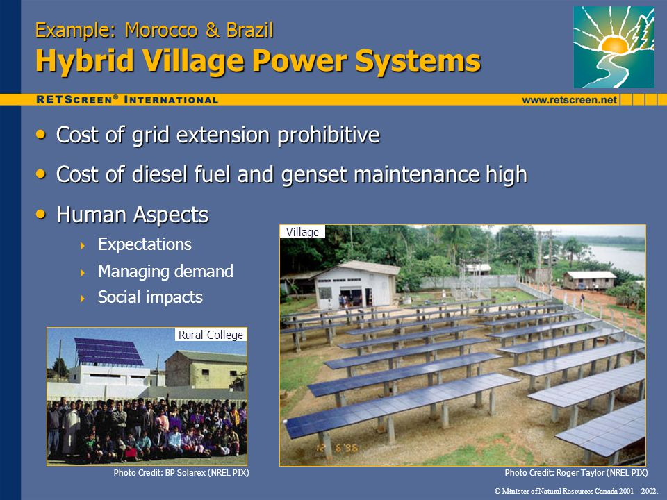 Example: Morocco & Brazil Hybrid Village Power Systems