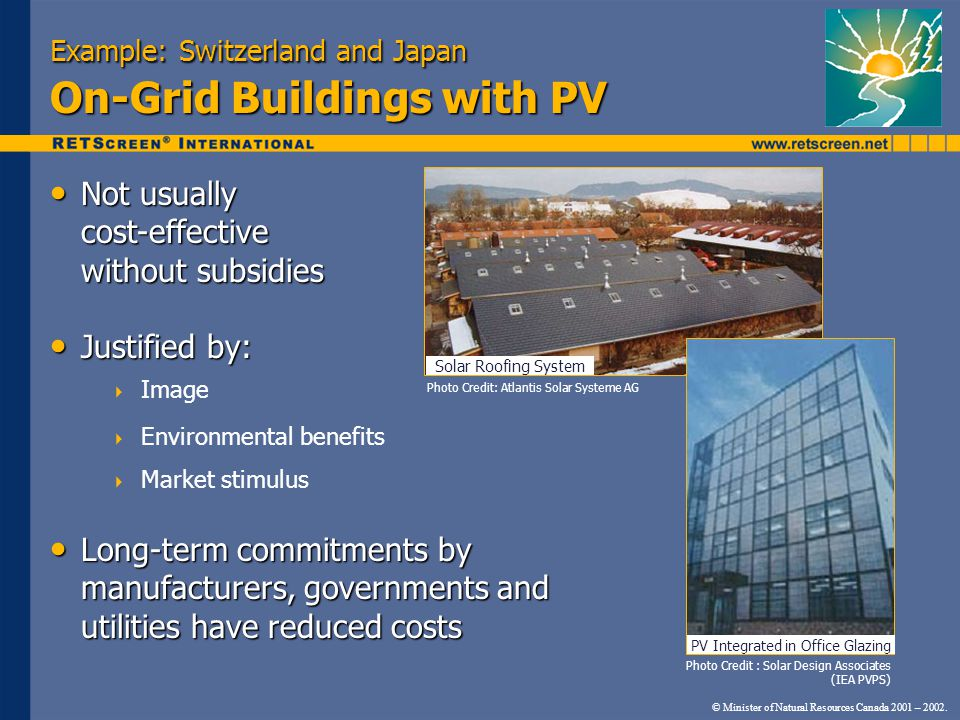 Example: Switzerland and Japan On-Grid Buildings with PV