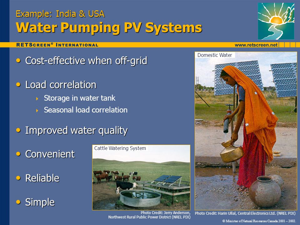 Example: India & USA Water Pumping PV Systems