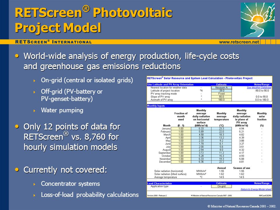 RETScreen® Photovoltaic Project Model
