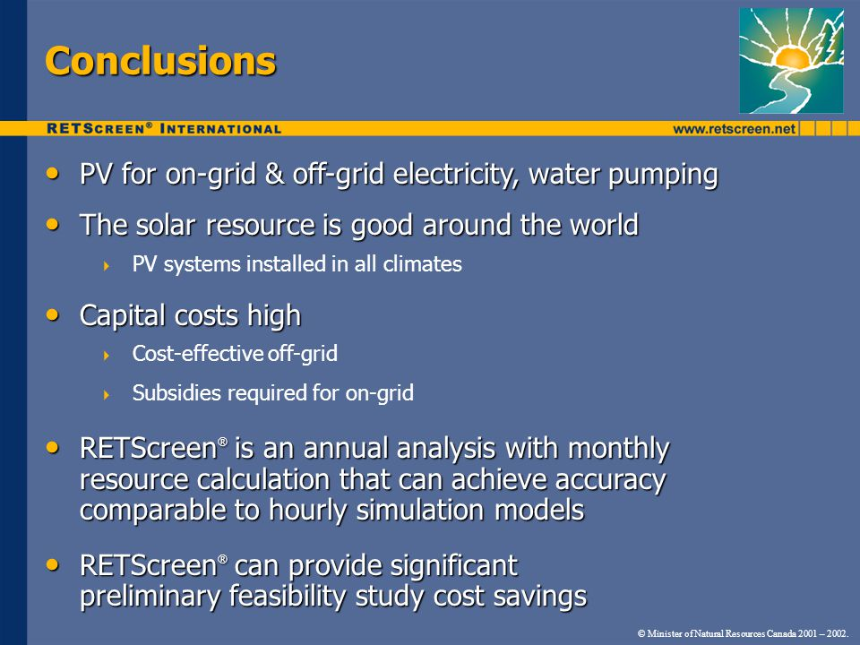 Conclusions PV for on-grid & off-grid electricity, water pumping